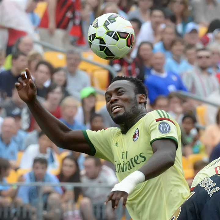A.C. Milan's Sulley Muntari  A.C. Milan's Sulley Muntari breaks up a pass against Manchester City during the Guiness International Champions Cup series, Sunday at Heinz Field.