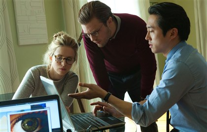 "IOrigins2-6 Brit Marling as ""Karen,"" Michael Pitt as ""Dr. Ian Grey"" and Steven Yeun as ""Kenny"" in ""I Origins."""