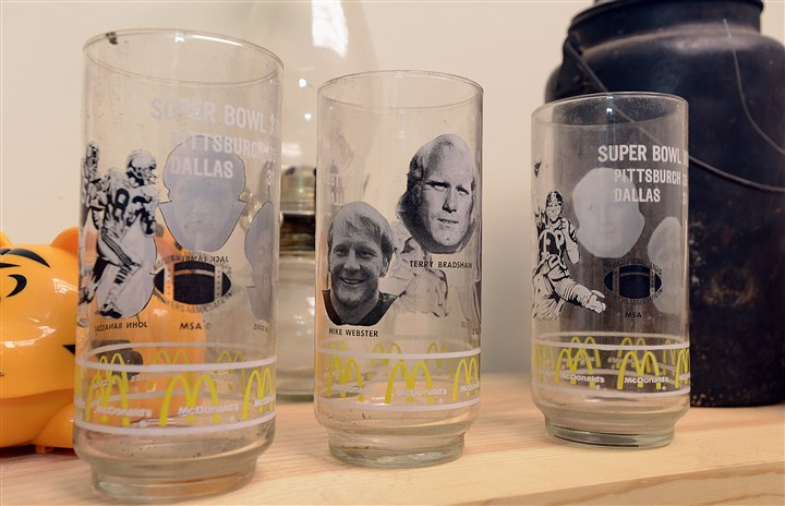 20140728radJoeBullickNorth05-4 Among the items in Joe Bullick's North Hills history museum are old Steelers glasses.