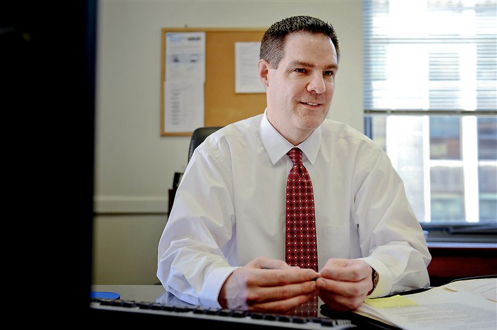 Sam Ashbaugh Sam Ashbaugh, budget director for the city of Pittsburgh, sits at his desk Friday at the City-County building in Downtown.