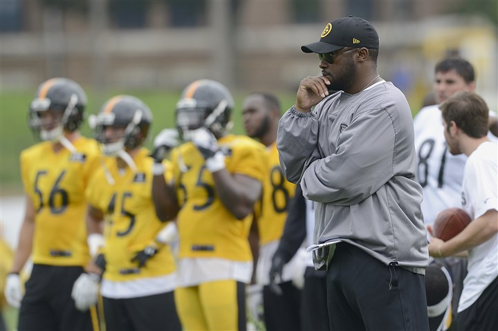 Head coach Mike Tomlin  Head coach Mike Tomlin watches practice Sunday at Steelers training camp at St. Vincent College in Latrobe.