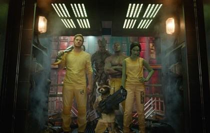 "Guardians4 From left, Star-Lord/Peter Quill (Chris Pratt), Groot (voiced by Vin Diesel), Rocket Racoon (voiced by Bradley Cooper), Drax the Destroyer (Dave Bautista) and Gamora (Zoe Saldana) in ""Guardians of the Galaxy."""