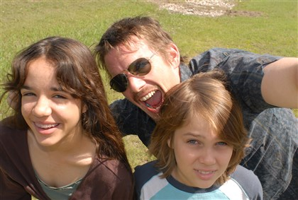 "Boyhood4-1 Lorelei Linklater, daughter of director Richard Linklater, portrays Samantha in her father's film ""Boyhood"" with Ethan Hawke, center, as Mason Sr. and Ellar Coltrane as Mason.,"