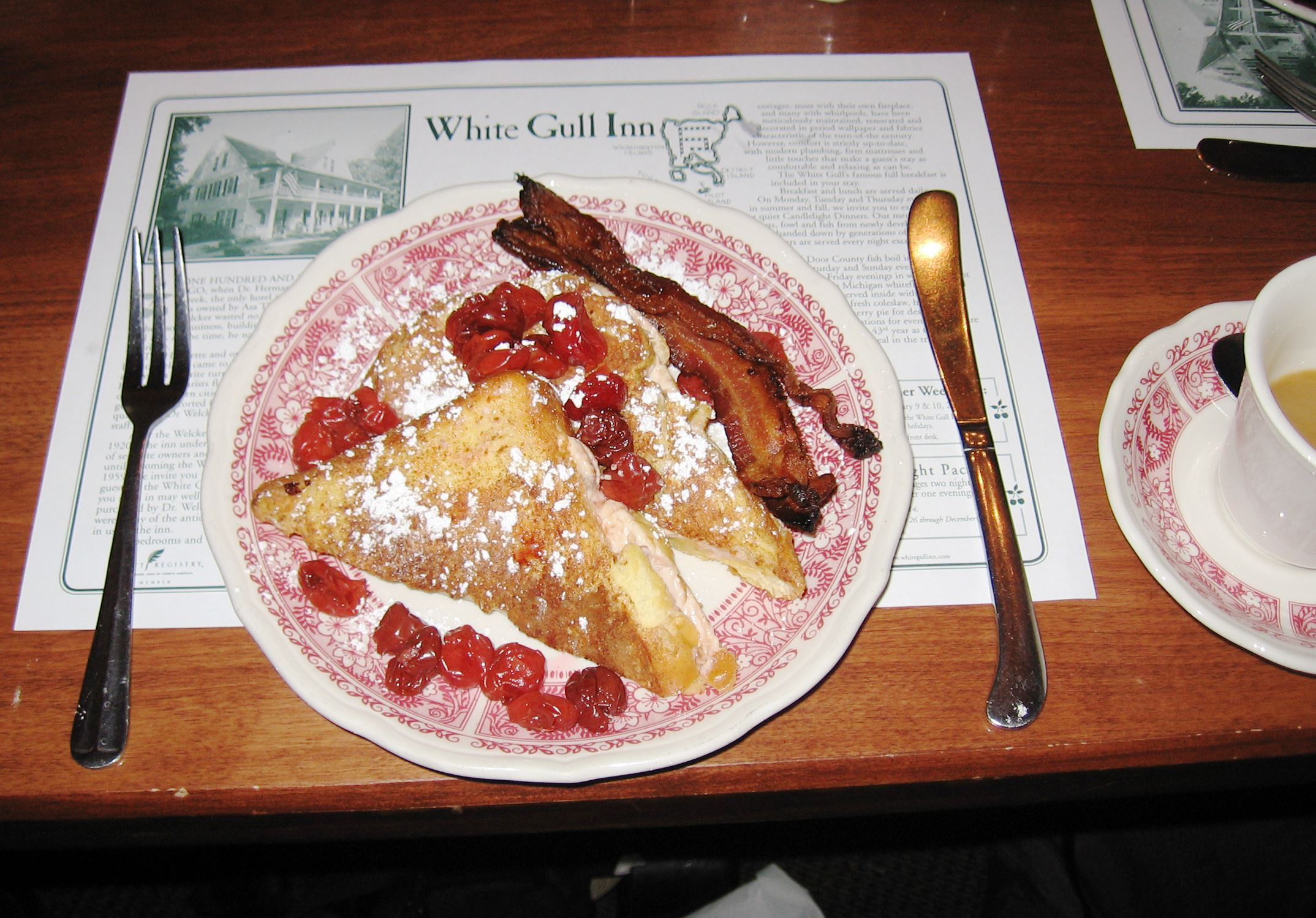 20140729howiscffood-1 Cherry-Stuffed French Toast at White Gull Inn in Fish Creek, Wis.