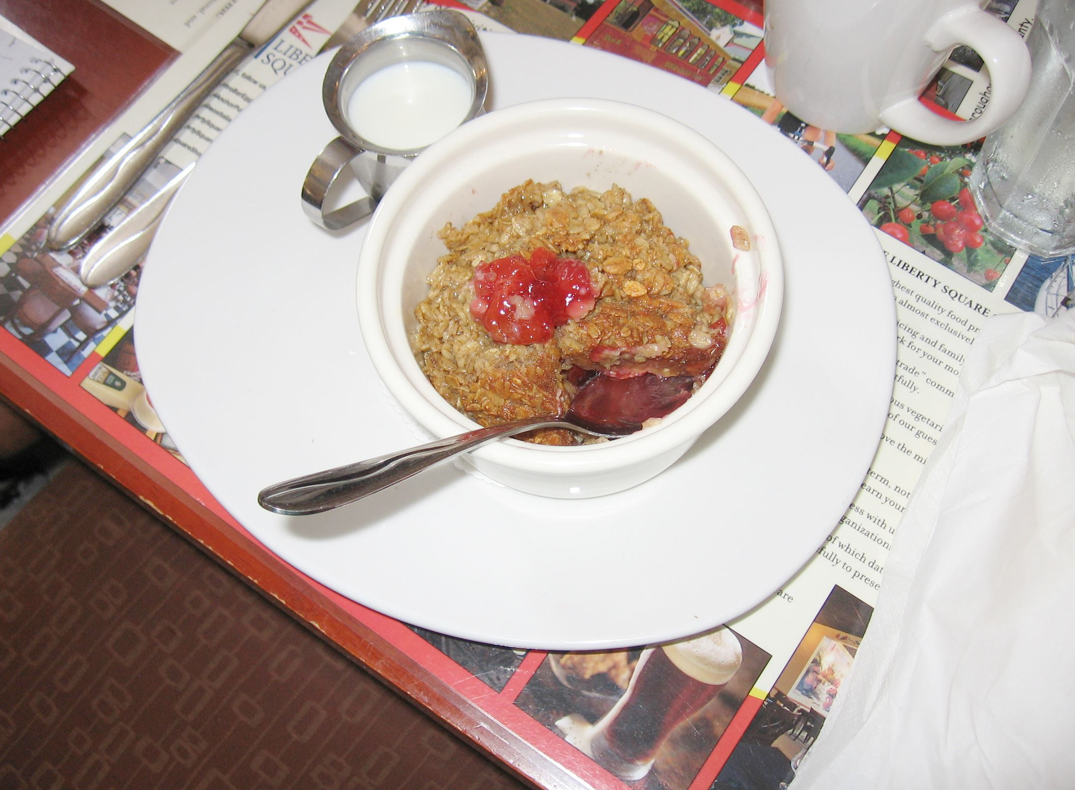 20140729howiscafood Baked Cherry Oatmeal from The Bistro Bar and Grill at Liberty Square, Egg Harbor, Wisc.