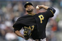 Pirates pitcher  Francisco Liriano works against the San Francisco Giants.