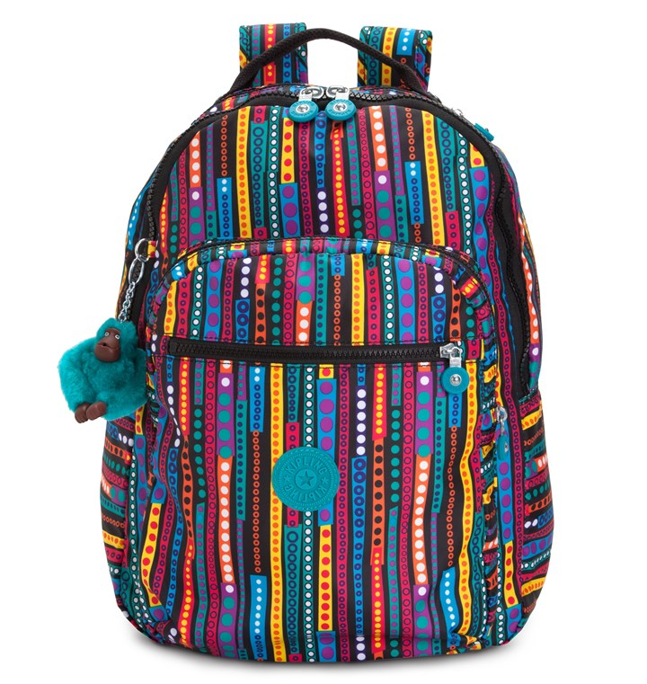 Kipling back to school backpack Tote books around in style with backpacks and messenger bags in a rainbow of hues and prints that can coordinate with almost any apparel, such as Kipling's Seoul print backpack with built-in laptop protection (on sale for $79.99 at www.kipling-usa.com).
