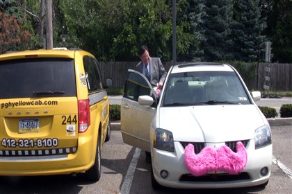 20140801mcLyft01Bus Mayor Bill Peduto gets into a Lyft car after visiting a Rite-Aid.