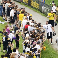 Quaterback Ben Roethlisberger greets fans Quarterback Ben Roethlisberger greets fans at training camp last Sunday. While Steelers fans outpace all the rest in social media engagement, they are only in the middle of the pack in terms of how much they pay to follow their team.