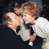 James Brady, left, in May 1999 with  former first lady Nancy Reagan. Mr. Brady, former press secretary to President Ronald Reagan, has died at the age of 73.