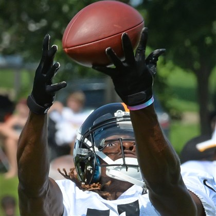 20140804pdSteelersSports05 Markus Wheaton makes a catch during workouts Monday at Saint Vincent College in Latrobe.