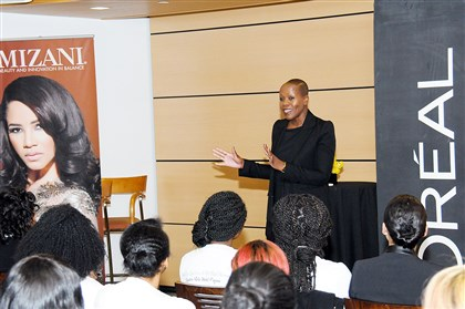 stylebook0810D-1 FashionAFRICANA's Demeatria Boccella speaks to students from 28 colleges and 11 high schools in the spring at the New York Coalition of One Hundred Black Women's role model program held at the L'Oreal USA headquarters in New York City.