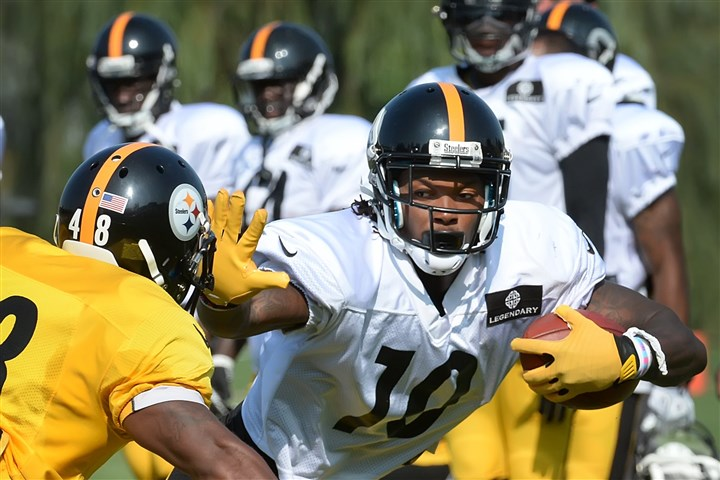 20140804pdSteelersSports06-4 Martavis Bryant turns the corner during workouts Monday at Saint Vincent College in Latrobe.