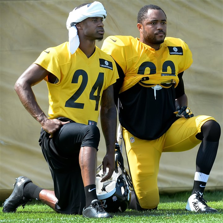 20140804pdSteelersSports04-3 Steelers safety Mike Mitchell (right) talks with Ike Taylor during workouts Monday at Saint Vincent College in Latrobe.