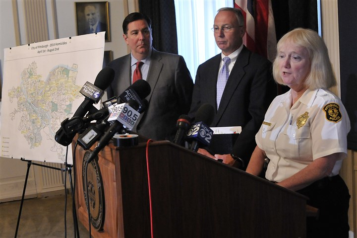 Peduto, Bucar, McDonald discuss homicides Pittsburgh Mayor Bill Peduto, left, Public Safety Director Stephen A. Bucar, center, and acting police Chief Regina McDonald discuss recent killings in the city.
