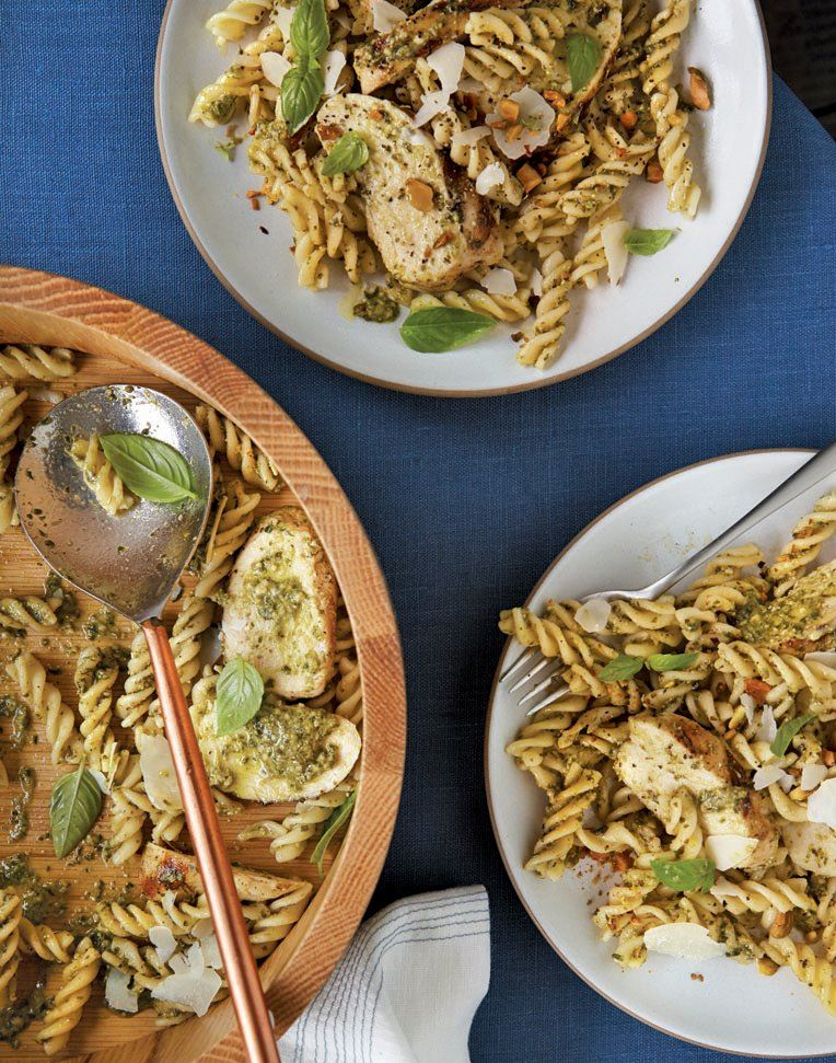 "pasta-2 Pistachio Pesto Pasta from the new ""Cooking Like Dinner Survival Guide."""