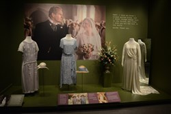 "Cos­tumes in­clud­ing Lady Edith's wed­ding dress are on ex­hibit in ""Costumes of Downton Abbey"" at Winterthur through Jan. 4."