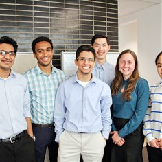 20140805hopreventionapps0806BBiz From left, Chintan Sharma, Kosa Goucher-Lambert, Michael Cioffi, Monty Kim, Ashley Dickson and Connie Chun, a student group at Carnegie Mellon University's Integrated Innovation Institute, work on Spot, an application using smartphones and a vibrating wristband to allow partygoers to send alerts to organizers.