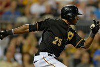 Gregory Polanco hits a run-scoring single against the Marlins earlier this month.