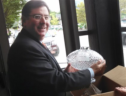 20140806hocrystal0807Blocal Pittsburgh Mayor Bill Peduto is sending this Waterford crystal trophy from the 2006 Super Bowl to the Heinz History Center for display.