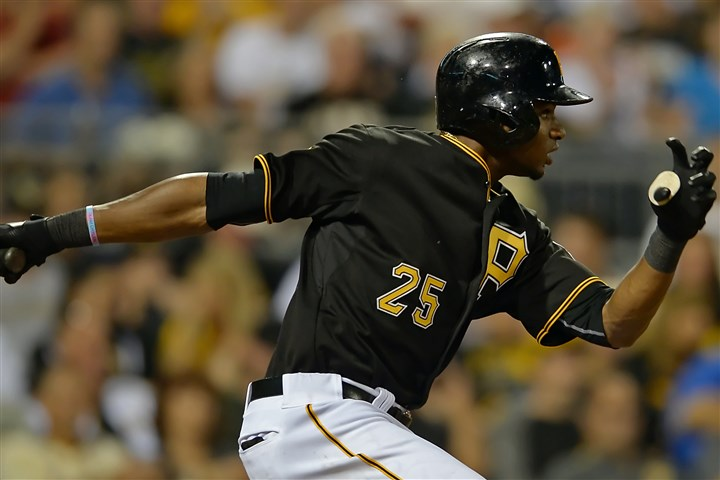 20140805mfbucssports09 Gregory Polanco hits a run-scoring single against the Marlins earlier this month.