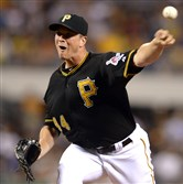 Tony Watson pitches against the Marlins at PNC Park on August 6, 2014.