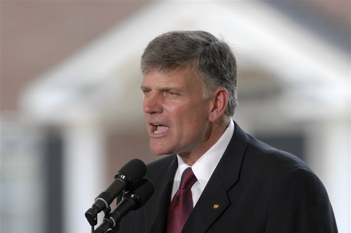 franklin graham Rev. Franklin Graham, son of Evangelist Billy Graham, addresses the audience from the stage during the Billy Graham Library Dedication Service in 2007 in Charlotte, N.C.