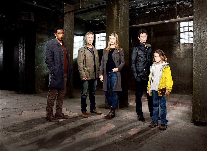 20140807hoOwen0822mag Gary Fischer, John Simm, Mira Sorvino, James Frain and Millie Brown in 'Intruders.""
