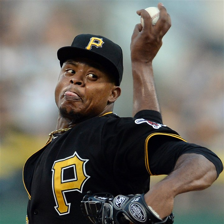 20140807mfbucssports04 Pirates pitcher Edinson Volquez pitches against the Marlins at PNC Park.