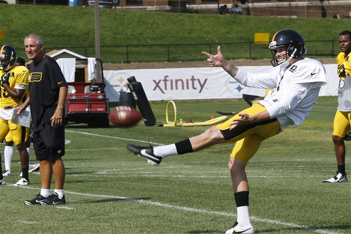 Brad Wing 0808 Steelers punter Brad Wing gets off a punt as special teams coach Danny Smith, left, watches earlier this week.