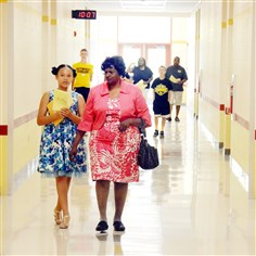 Penn Hills Elementary School after the opening ceremony Fourth-grader Annabelle Little, 9, and her grandmother Melvinor Jones, 66, tour the new Penn Hills Elementary School after the opening ceremony on Saturday.