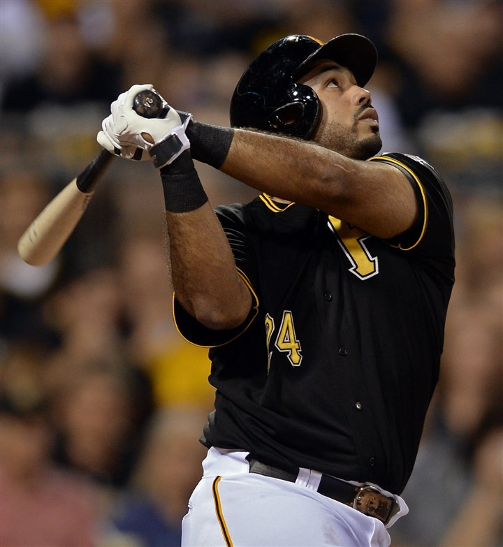 Parents-4 Pedro Alvarez flies out to center in the seventh inning in his lone at-bat Saturday night against the Padres at PNC Park.