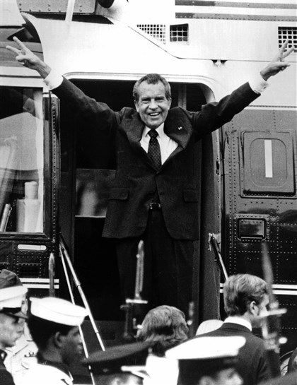 Nixon Resignation-Tapes In this Aug. 9, 1974 photo, Richard Nixon waves goodbye with a salute to his staff members outside the White House as he boards a helicopter and resigns the presidency. He was the first president in American history to resign the nation's highest office.