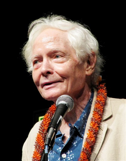 Books-Merwin , U.S. poet laureate W.S. Merwin speaks to the Hawaii Conservation Conference in Honolulu. At 86 years of age, Merwin continues to work.