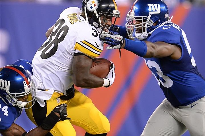 tauren poole thurmond walton Tauren Poole stopped by the Giants' (24) Walter Thurmond and JD Walton in the first half of the Steelers' first preseason game at MetLife Stadium.