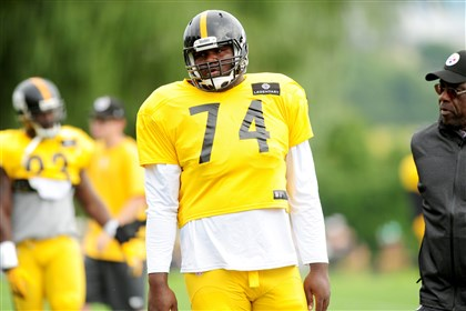 20140811_SteelersTrainingCamp006 Daniel McCullers during workouts Monday at St. Vincent College in Latrobe.