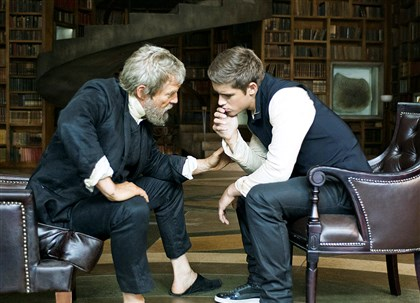 "thegiver0815a Jeff Bridges, left, and Brenton Thwaites star in ""The Giver."""
