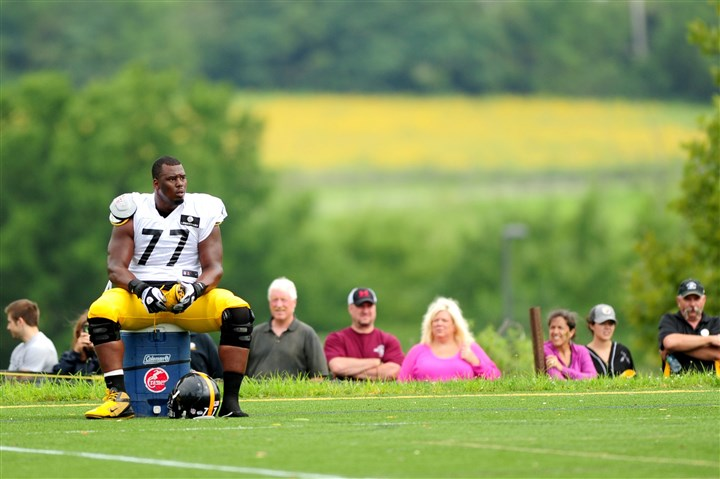 Steelers tackle Marcus Gilbert Steelers tackle Marcus Gilbert takes a break during workouts Monday at St. Vincent College in Latrobe, Pa.