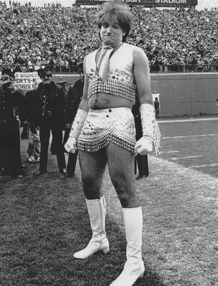 Robin Williams Mr. Williams appeared at Mile High Stadium dressed as a Denver Bronco Pony Express cheerleader on Nov. 12, 1979.