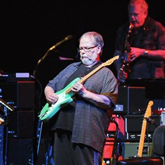"20140911JHMAGSteelyDan05-4 Steely Dan's Walter Becker takes a solo on ""Hey Nineteen"" on the bands Jamalot Tour at a sold-out Benedum Theater."