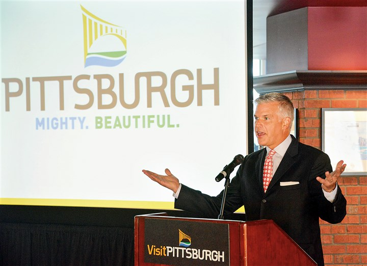 20140812lfVisitingLocal02-1 Craig Davis, CEO of VisitPittsburgh, speaks on the advertising campaign unveiled Tuesday to promote the city as a tourist attraction.