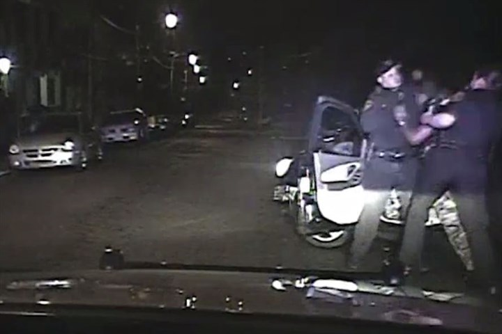Dashboard video During the first day of a trial for James Hill, who is accused of paralyzing one Pittsburgh police officer and injuring another, the prosecution played video captured by a camera in the officers' car moments before shots were fired.