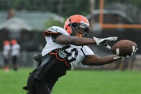 Clairton's Lamont Wade stretches to pull in a pass during a drill at preseason training camp.