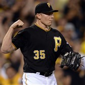 Pirates closer Mark Melancon celebrates after getting the final out against the Tigers at PNC Park on August 12, 2014.