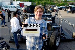 "Stephen Chbosky during the filming in Pittsburgh of ""The Perks of Being a Wallflower."""