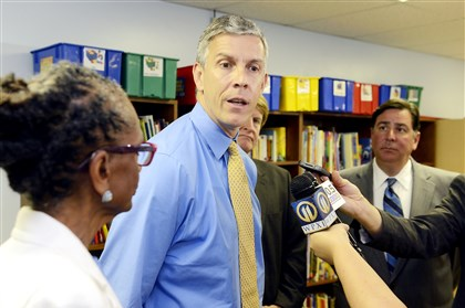 Education Secretary Arne Duncan U. S. Secretary of Education Arne Duncan speaks during his visit to Pittsburgh Aug. 13. Also pictured are, from left, Pittsburgh Public Schools Superintendent Linda Lane, Allegheny County Executive Rich Fitzgerald and Mayor Bill Peduto.