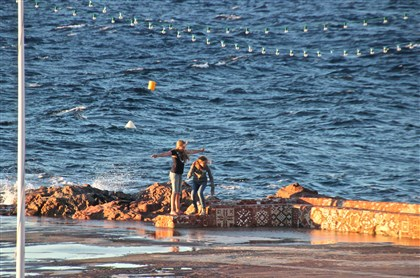 20140813psStTropezB (2)-1 The cool wind the locals call the Mistral whipping up the sea near La Ponche in St. Tropez.