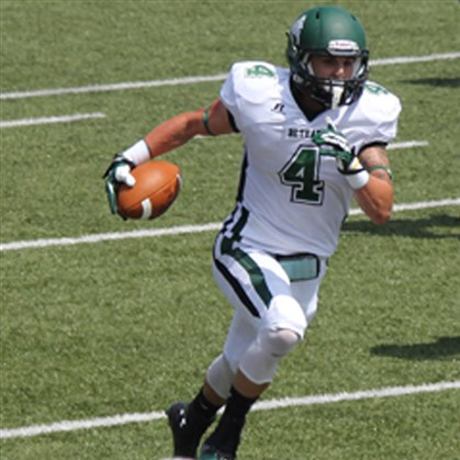 20140807hoBlinnzsports.jpg Western Beaver's Eric Blinn, a junior wide receiver at Bethany College, has piled up 2,645 all-purpose yards in two seasons.