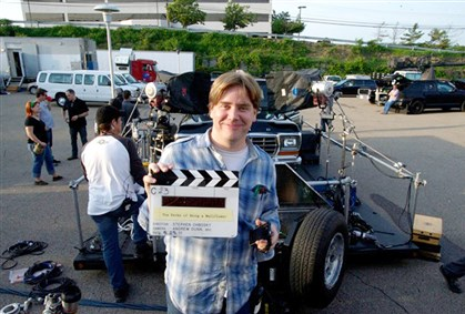 "20140817ppFilmCredits4-2 Stephen Chbosky during the filming in Pittsburgh of ""The Perks of Being a Wallflower."""