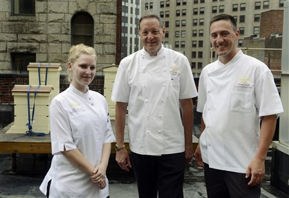 20140812bwBeesSeen09-8 The Duquesne Club's Sara Milarski, assistant pastry chef, executive chef Keith Coughenour and executive sous chef, Michael Caudill.